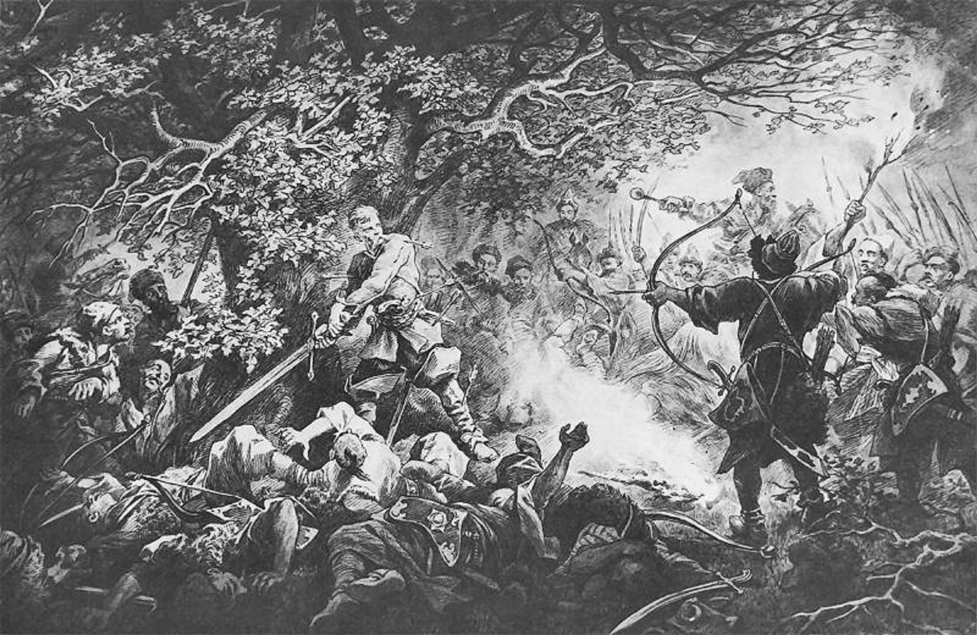 Śmierć Podbipięty pod Zbarażem, ryc. Juliusza Kossaka (fot. Wikipedia)